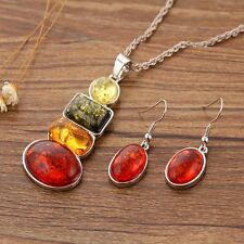 Statement Chain Stunning Faux Amber Colorful Necklace Earrings Jewelry Sets