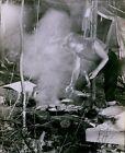 LG755 1960 Original Photo CAMPING STOVE Electric Range Woman Cooking Outdoors photo