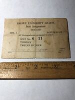 Vintage 1946-47 Brown University Chapel Seat Assignment-Division of Athletics