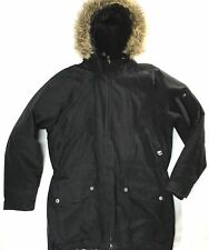 Timberland Waterproof Hooded Black Parka Faux Fur Jacket Winter Coat Mens Medium