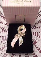 Breast Cancer Awareness Pin Tack Pink Gold Tone Ribbon Rose Box 1993 Mint