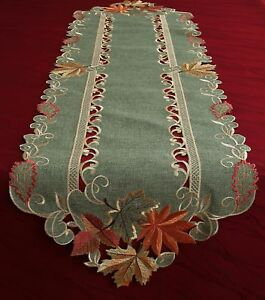 Maple Table runner Doily Tablecloth Linen-look Green Orange Autumn Fall Leaf NEW