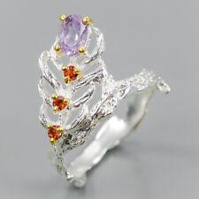 Fine Art SET Natural Amethyst 925 Sterling Silver Ring Size 7/R98340