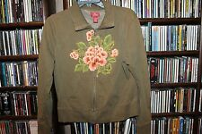 Lucky Brand olive Zip Front Sweatshirt Top Embroidered Floral Ladies L  (bin123)