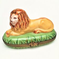 Lion in Grass Limoges Trinket Box by Chamart - Exclusive