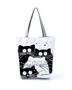 Female Fabric Cat Print Shoulder Tote Handbags Travel Beach Casual Shopping Bags