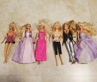 Lot Of Six 6 Blond Barbies Including Rapunzel 2003 Barbie w/ Clothes Dresses