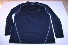 Men's Under Armour Sz 2XL Fitted Black L/S Shirt Cold Gear Grey Logo