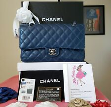 CHANEL double Flap Classic Medium blue caviar bag silver hardware