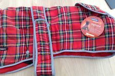 Ancol Muddy Paws Highland Red Tartan Dog Coat LARGE/Fleece lined