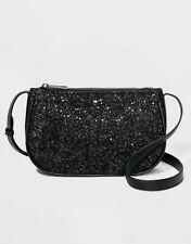 With Tags Black Glitter Crossbody Bag - a Day Zip Closure