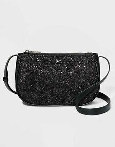 "Black Glitter Crossbody Holiday Bag Purse Pocketbook  9"" X 6"" A New Day TARGET"