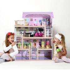 HOMCOM Kinder Puppenhaus Puppenstube Barbiehaus Dollhouse 4 Etagen mit Möbeln