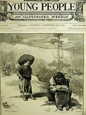 """W.A. Rogers """"BUSTER BILL"""" BOY CHILD & an OLD INDIAN 1888 Antique Print Matted"""