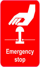 Maquinaria rojo de parada de emergencia de salud y seguridad Pegatina de vinilo 120 X 160 mm