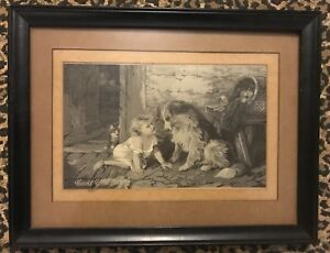 "Rare Antique George Augustus Holmes Engraving  ""Cant you Talk"""