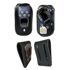 Rugged Heavy Duty Fitted Genuine Leather Case, Steel Clips for Kyocera Dura XT