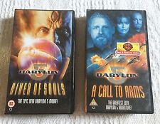 BABYLON 5 - 2 x VHS VIDEO MOVIES - RIVER OF SOULS + CALL TO ARMS - SUPERB CONDN