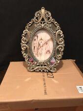 "Oval Silver Leaf Baroque Style Frame NIB 12"" Long-8"" Opening"
