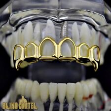 14k Gold Plated Open Face Fang Grillz Six 6 Tooth Upper Top Teeth Vampire Fangs