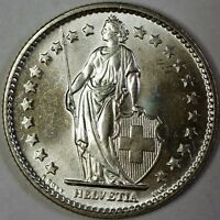 1967 B Switzerland 2 Francs Brilliant Uncirculated Helvetia Silver Coin