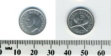 New Zealand 1937 - 3 Pence Silver Coin - King George VI -  Crossed Patu - #4