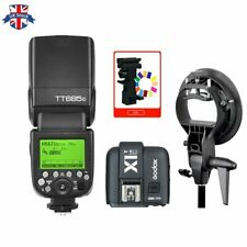 UK Godox TT685C 2.4G HSS TTL Camera Flash+X1T-C Trigger for Canon+Bowens Bracket