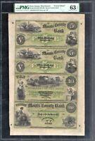 Uncut Sheet $5-$5-$10-$20 1860's The Morris County Bank NJ PMG Choice Unc 63 EPQ