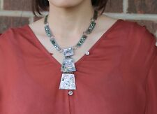"Mexico Taxco Sterling Silver 925 Albalone Dangle Pendant Necklace 17"""