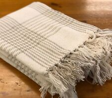 Luxury 100% Cotton Cream Natural Check Throw Fringed Sofa Bed Blanket Country