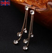 Gold Tassel Drop Dangle Zirconia Earrings for Women - UK Free P&P