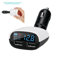 Smart LED 3.4A Dual port Powerful usb car charger with power DC Voltmeter Digita