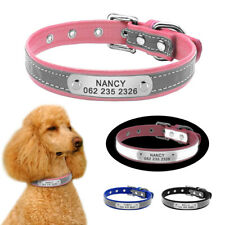 Reflective Personalised Dog Collar Pet Dogs Puppy ID Name Phone Engraved Collars