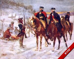 GEORGE WASHINGTON & LAFAYETTE AT VALLEY FORGE WINTER OIL PAINTING CANVAS PRINT