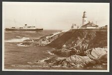 Postcard Isle of Man the Lighthouse and ferry boat at Douglas Head RP