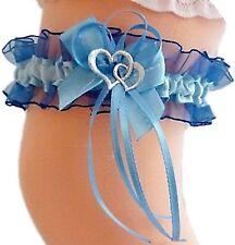 Strumpfband Braut dunkelblau blau mit Schleife und Herzchen Silbernaht Hochzeit