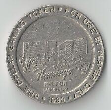 $1 LAUGHLIN FLAMINGO HILTON CASINO CHIP TOKEN COIN 1990