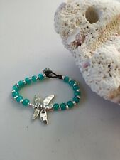 Uno De 50 Style New Dragonfly Beaded Bracelet Silver And Green