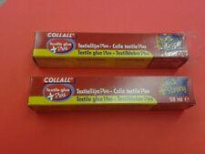 Collall Colla Tessile più 2 x 50ml TUBI, RAPIDO + forte si asciuga trasparente