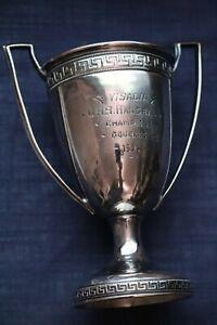 Vintage 1921 Handball Champion Trophy - Loving Cup - Silver Plate