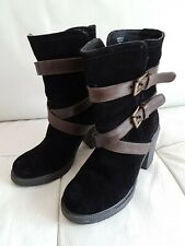 Mantaray Genuine Suede Brown Leather High Heel Ankle Boots /UK3/ EU 36/Worn once