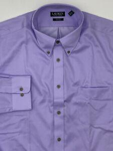 $100 Ralph Lauren Size 17.5 32/33 Men Regular-Fit Purple Long-Sleeve Dress Shirt