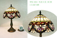 "Flowery Designed Glass Tiffany Style Table Lamp (10"")"