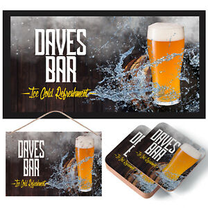 Personalised Beer Bar - Mat, Coasters & Sign - Runner, Garden, Home, Ice Cold