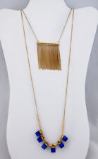 MACY'S Gold-Tone Fringe and Stone Layer Necklace Msrp $32.50 ** NEW WITH TAG **