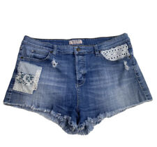 Guess denim Jean  Cut Off Shorts With Patchwork And Lace size 31 Distressed