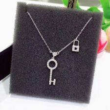 925 Sterling Silver Key and Lock Fashion Necklace