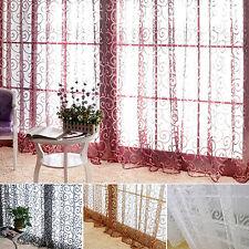 LC_ HK  Floral Vigne VOILE TULLE Porte Fenêtre Panneau Rideau Rideau  Transparent