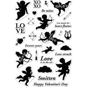 """LOVE Valentine Cherub Hero Arts Clear Unmounted Rubber Stamp Set 4""""x6"""" CM211 New"""