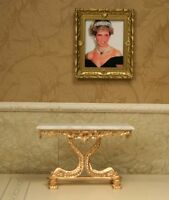 """Gold Show Table MUSEUM QUALITY DOLLHOUSE FURNITURE 1/12 or 1"""" Scale BESPAQ"""